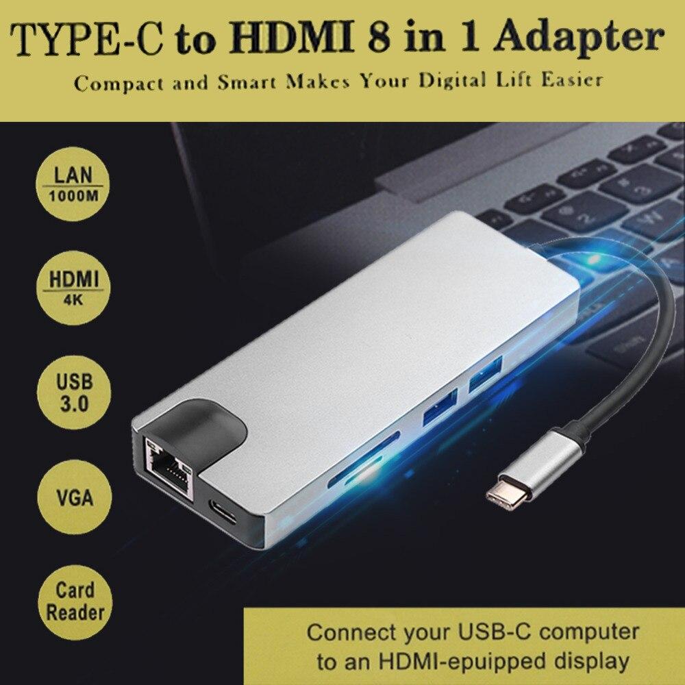 8 en 1 alliage d'aluminium type-c répartiteur de moyeu USB-C à RJ45 Lan HDMI VGA adaptateur USB 3.0 Hub SD lecteur de carte convertisseur