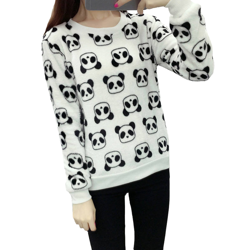 Winter Casual Long Sleeve Thicken Hoody Sweatshirt For Woman Lovely Panda Harajuku Girl Loose Pullover Tops White Coat Female