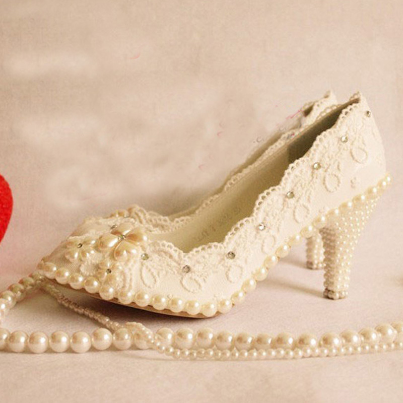 Lady fashion rhinestone imitation pearl deco lace platform 8cm high-heeled Princess shoes sexy women wedding bridal dress shoes