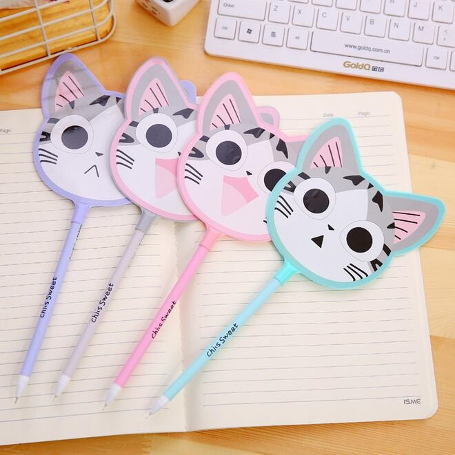 1pcs/lot Cartoon Kawaii Cat Fan design gel pen signing pen funny students' gift kids' toy office school supplies x33 cute kawaii lifelike silicone carrot gel pen writing signing pen school office supply student stationery kids gift