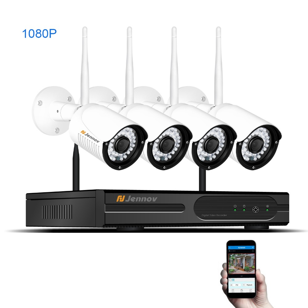 Full HD 4CH 1080P 2MP Wireless Security CCTV IP Camera System With NVR Wifi Home Outdoor Video Surveillance Kits Set Camara