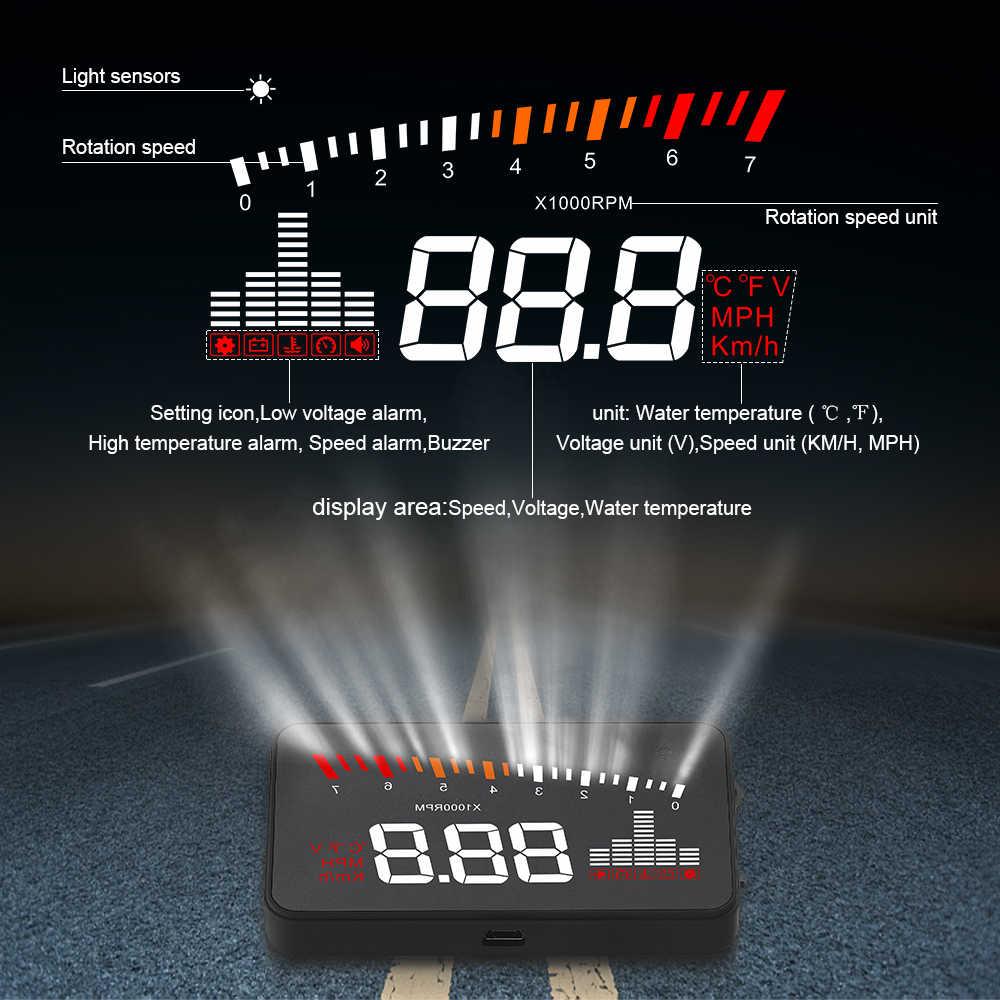 GEYIREN X5 Xe Ô Tô HUD OBD II Đầu-Lên Màn Hình Overspeed Cảnh Báo Hệ Thống Máy Chiếu Kính Chắn Gió Tự Động Điện Tử Báo Động Điện Thế