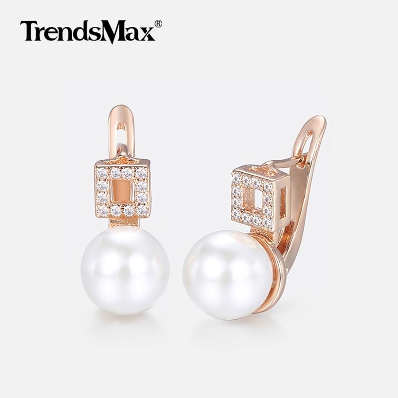 Luxury Pearl Earrings for Women 585 Rose Gold Woman Earring Hot Party Wedding Jewelry Wholesale Valentines Gifts for Love KGE173 gold earrings for women