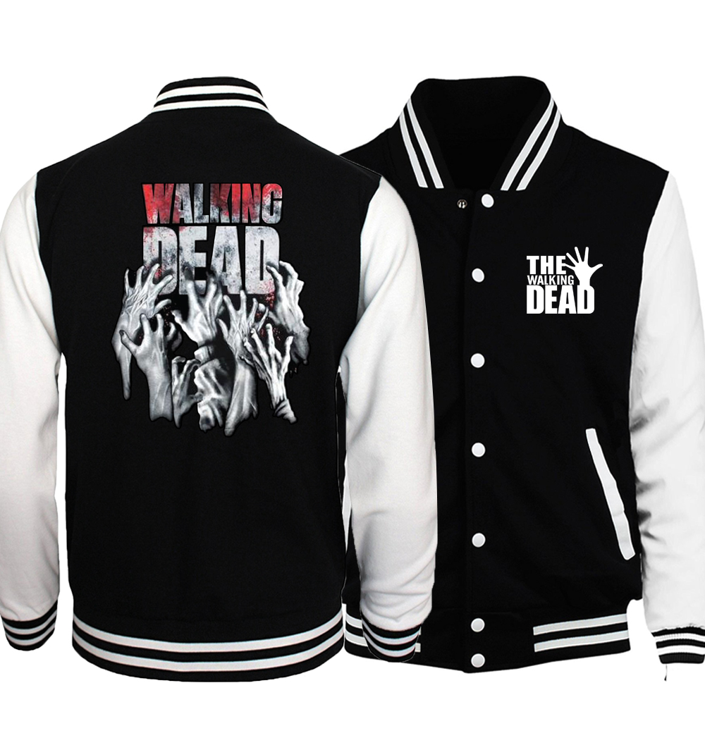 The Walking Dead Jacket Men Wing Baseball Jersey 2018 Spring Autumn Black White Jackets Black White Printed Coat Plus Size 5XL
