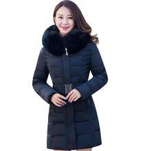 middle age women clothing slim female winter coat cotton parkas elderly winter jacket hooded large faux fur collar coat kp1281