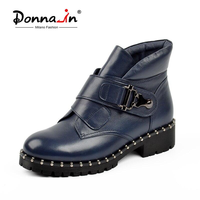 Donna-en Hiver Bottes Femmes Mode Neige Bottes Nouvelle Véritable Cheville En Cuir Bottes Plate-Forme Bout Rond Bleu Laine Chaud dames Chaussures