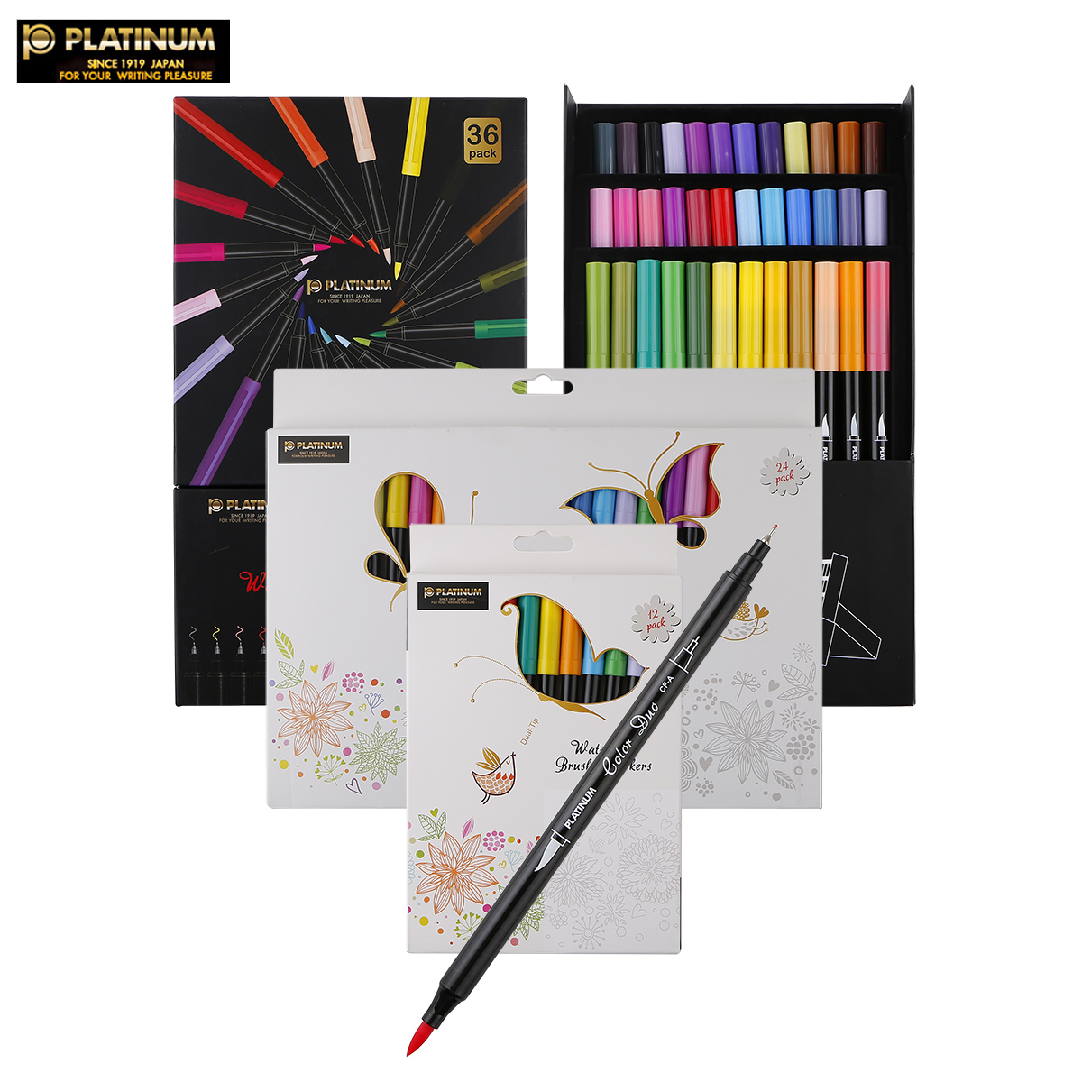Dual-Tip Watercolor Brush Marker Graphic Drawing Manga Soft Brush and Fineliner Cartoon Design Art Marker Aquarelle Brush Pen