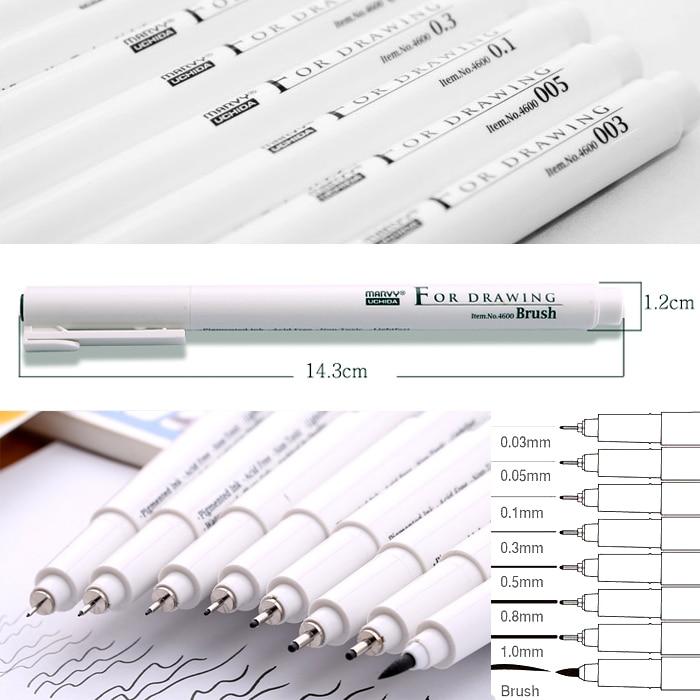 8 SIZE/PACK Japan  Extra Fine Point Brush Tip Sketch Model Ilustrating Cartoon Designing Marker Art Marker Arte Marcadores