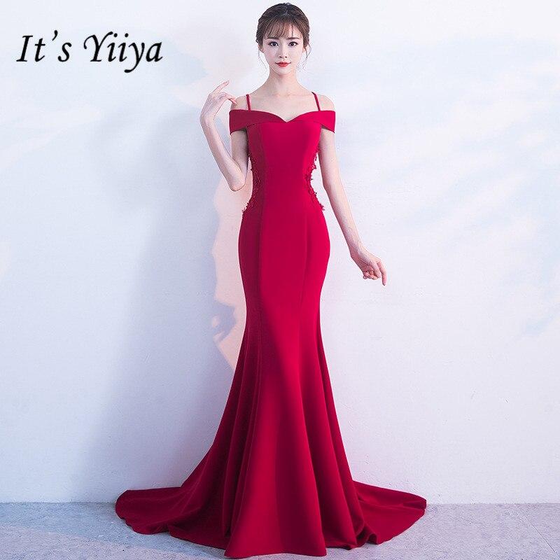 Это YiiYa Сексуальная Лодка шеи спагетти Straples Вечерние платья модные Однотонная одежда Труба вечернее платье YG010