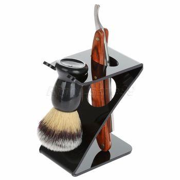 2017 nueva llegada brocha de afeitar de acero inoxidable Barber maquinilla de afeitar plegable cuchillo recto Z soporte de cepillo conjunto 3in1
