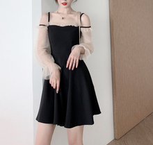 Spring and summer new style One-strap sling Perspective mesh sleeve dress Slim large