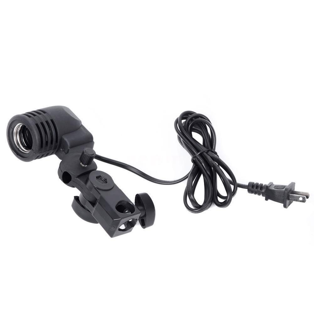 E27 Bulb Holder Socket Flash Swivel Bracket Photo Light Lamp Mount US Plug