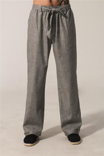 Primavera Otoño Gris de Los Hombres Chinos de Kung Fu Pantalones de Algodón Pantalones de Lino Tamaño de la Ropa Sml XL XXL XXXL MNP02