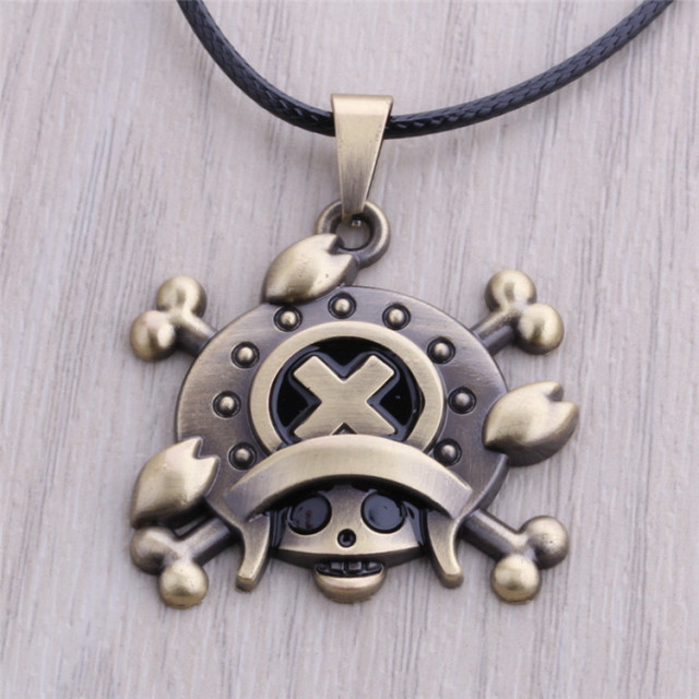Bronze Pendant Necklace Anime One Piece Figure Toy Accessories Gift Luffy Jewelry