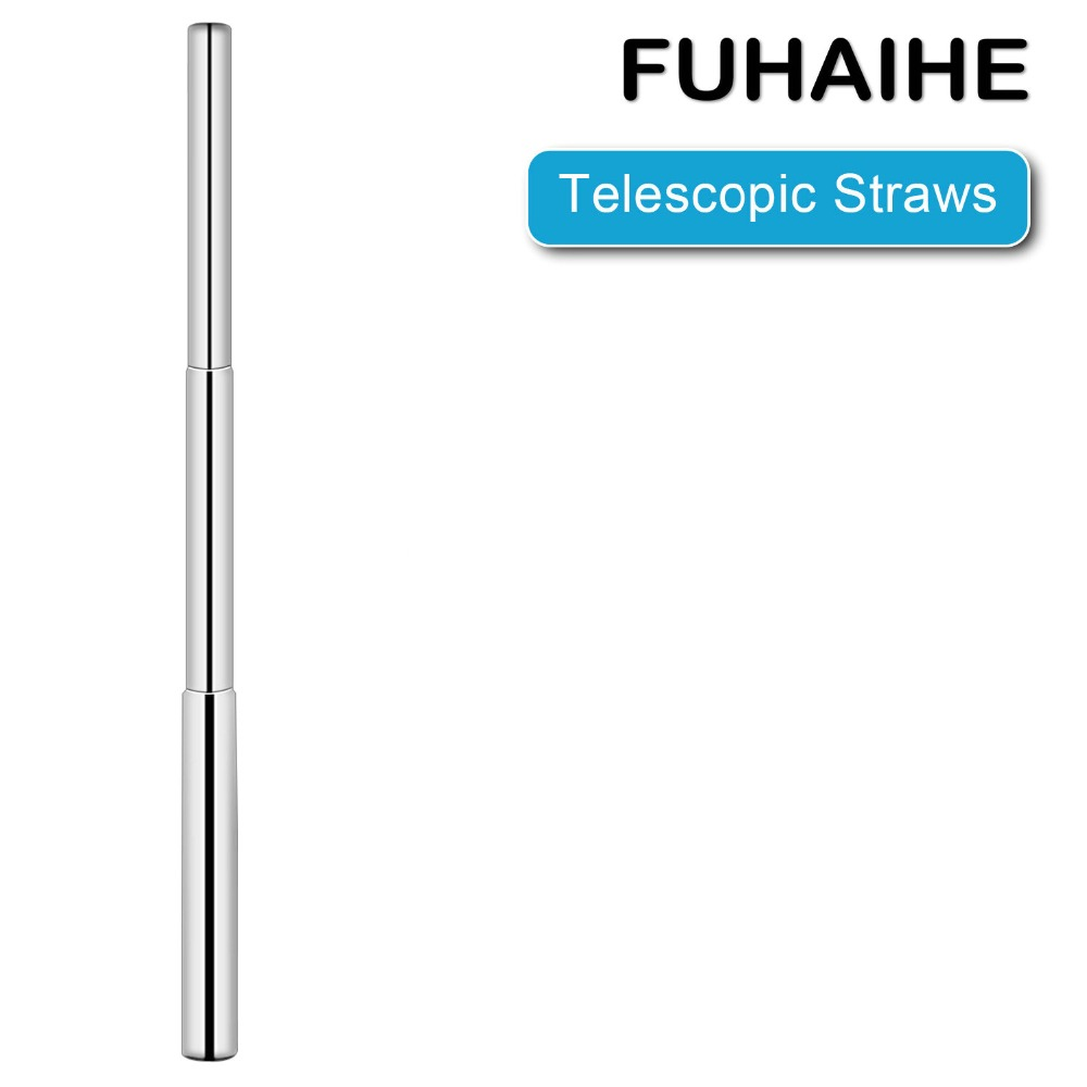 FUHAIHE Reusable Drinking Straw Stainless Portable Straight Metal Telescopic Tool Party Bar Accessory