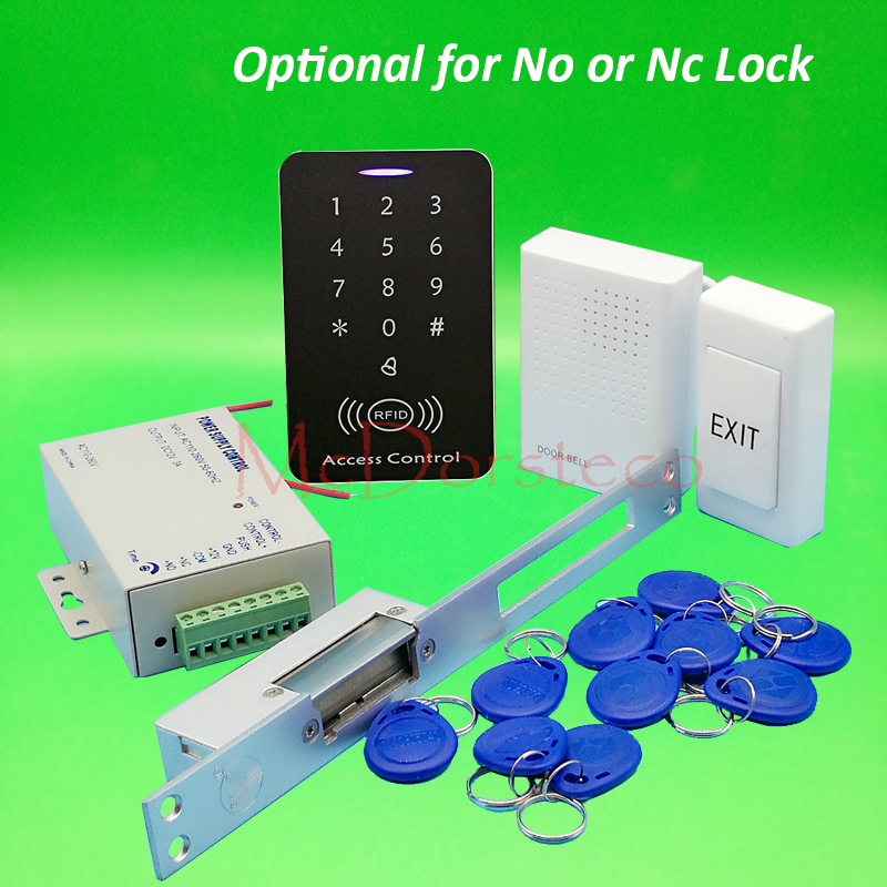 DIY Full Rfid Access Control System Kit + long type Electric Strike Lock + Power Supply 125khz Keypad Door Lock System full complete rfid door access control system kit digital keypad with electric strike lock power supply 10pcs id key chains