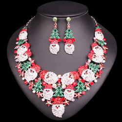 Gorgeous Christmas Tree Necklace Earrings Sets Jewelry Sets Christmas Party Costume Jewellery Accessories Xmas Gifts for Women