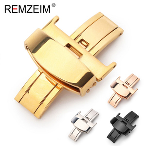 Stainless Steel Solid Double Push Button Fold Watch Buckle Butterfly Deployment Clasp Watch Strap 16mm 18mm 20mm 22mm 24mm(China)