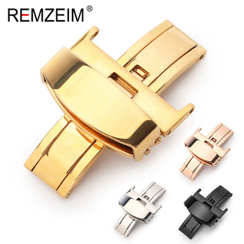 Stainless Steel Solid Double Push Button Fold Watch Buckle Butterfly Deployment Clasp Strap 16mm 18mm 20mm 22mm 24mm - discount item  30% OFF Watches Accessories