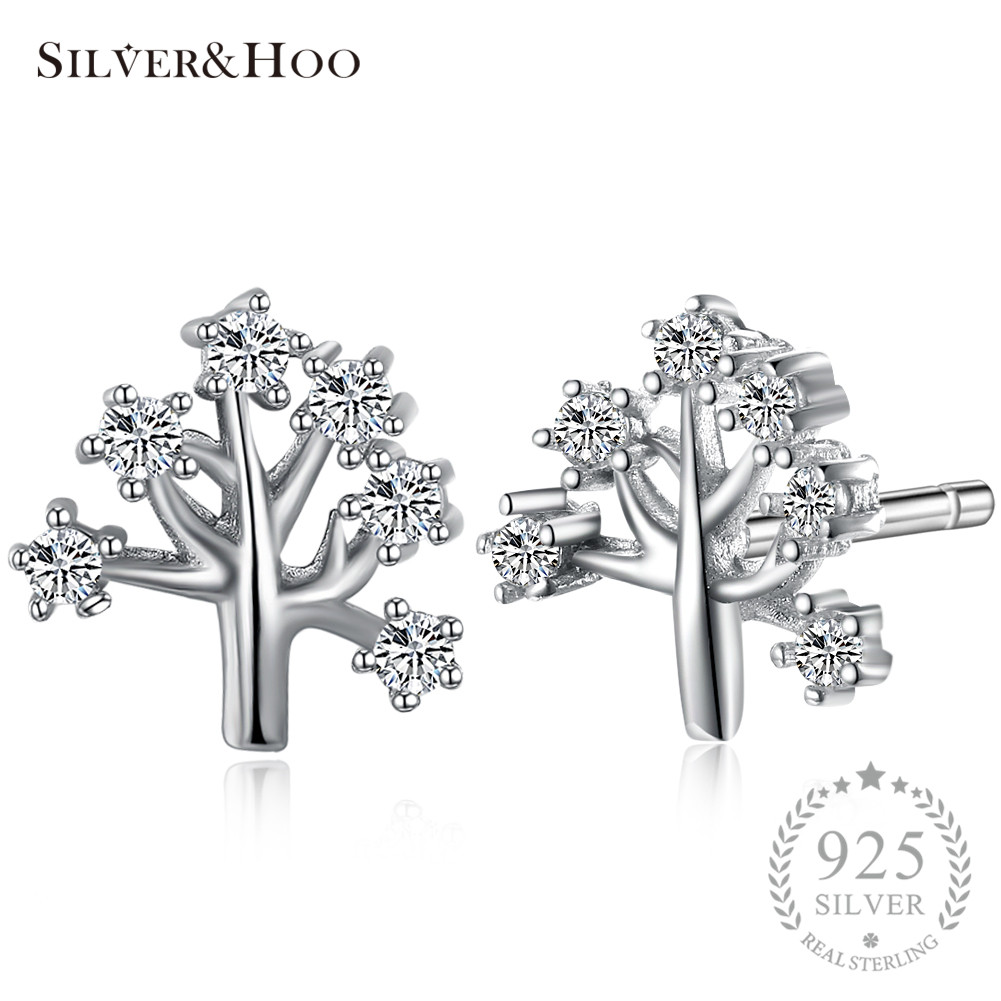 SILVERHOO Crystal Stud Earrings 925 Sterling Silver Cute Christmas Tree for Women Lady Grils Cocktail Party Xmas New Years Gift
