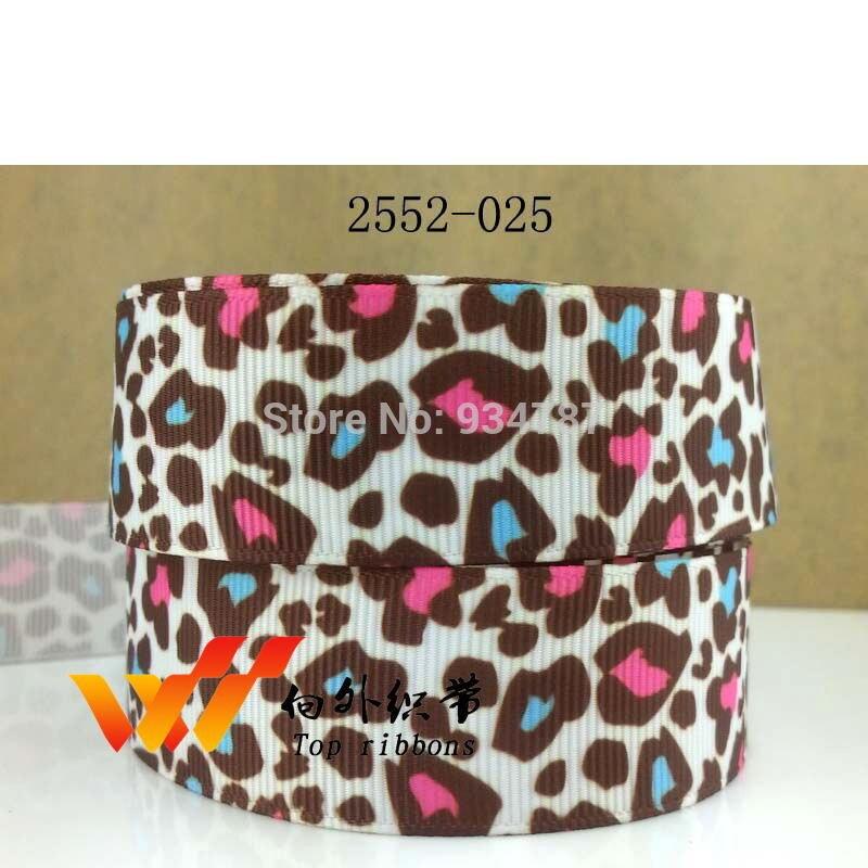 Leopard ribbon Zebra ribbon Free shipping 50 yards printed grosgrain ribbon 2552-025