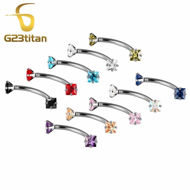 G23titan 10 Colors 3mm Square Zircon Balls Stainless Steel Internally Threaded Bananabells for Navel Ear Eyebrow Piercing 5