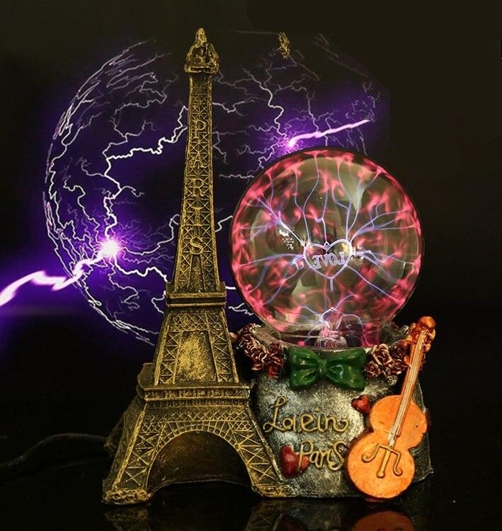 Париж Эйфелева башня электростатического Plasma Ball Сфера свет магический кристалл и праздничные лампы для дома/Office для настольных Аксессуары