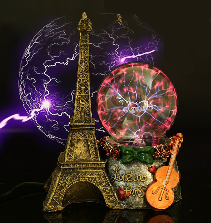 Paris Eiffel Tower Electrostatic Plasma Ball Sphere Light Magic Crystal And holiday Lamp Household/Office Desktop Decorations