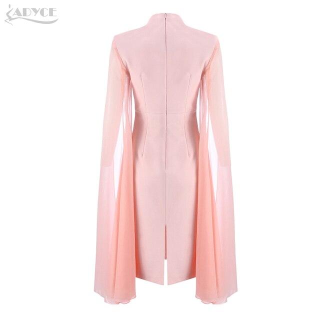 O-Neck Batwing Sleeve Knee Length Luxury Celebrity Runway Dress 4