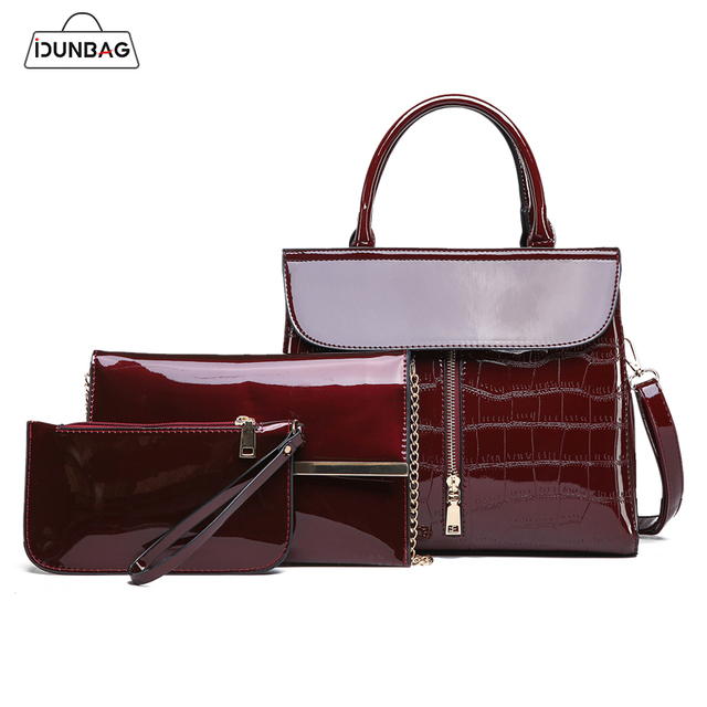 Red Black Blue Crocodile Bags Women Handbags And Purse Set 3pcs Bright Patent Leather