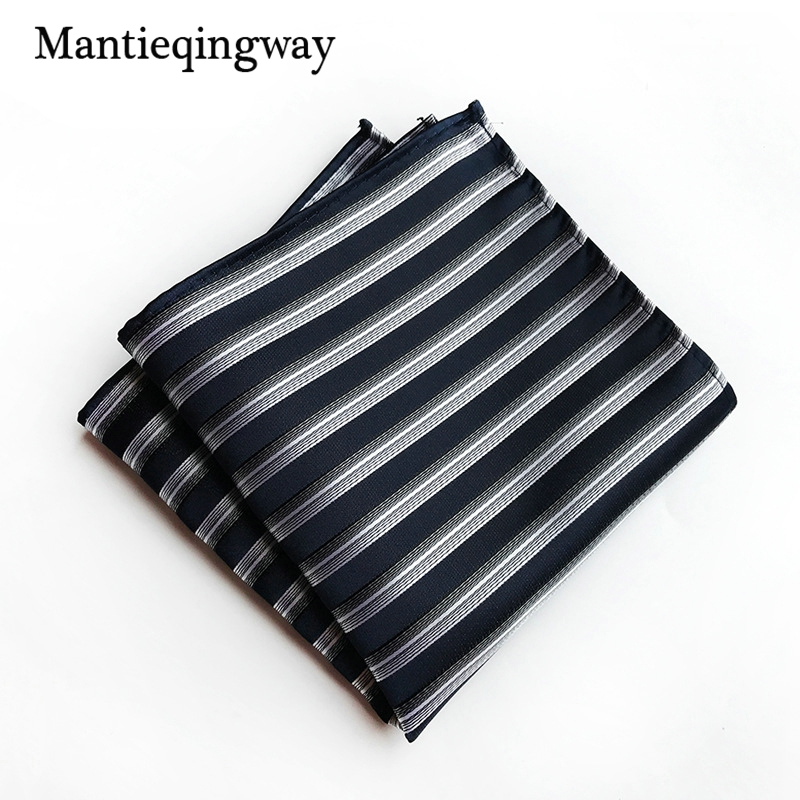 Mantieqingway Paisley Mens Pocket Square Business Striped Handkerchief For Men Fashion Wedding Chest Towel 25*25cm Classic Size