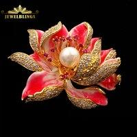 Droom Fancy Stijl Geëmailleerd Bloemblaadje Micro Pave CZ Roze Lotus bloem Broches Gold Tone Gecentreerd Parelmoer Blossom Lotus Pins