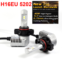1 Set Super Bright MINI SIZE 5202 H16EU CSP CHIPS P20 Car LED Headlight All-in-one Turbo Fan 1:1 Front Bulb Lamp 45W 5200LM 6K
