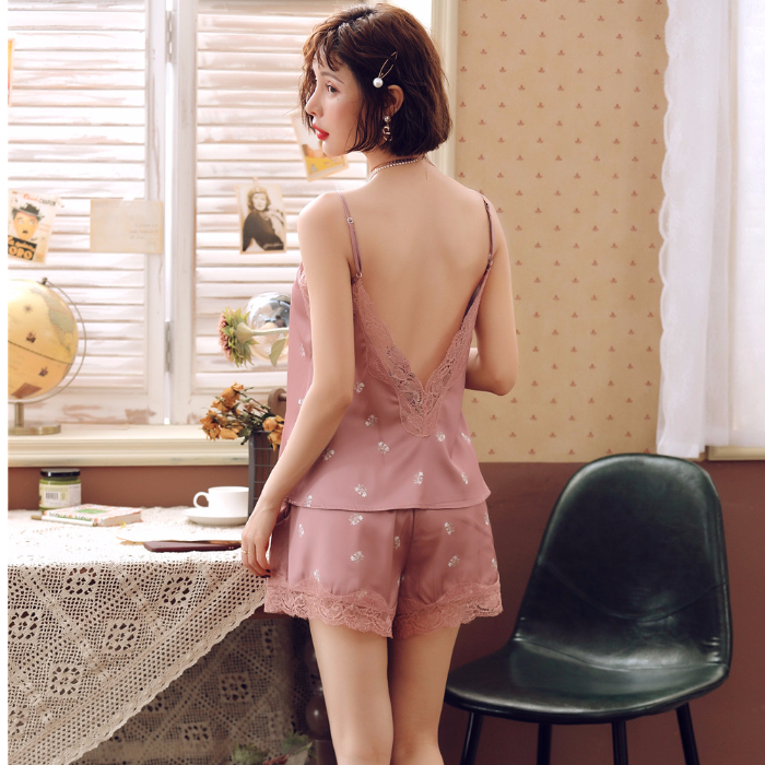 Nightgowns Pyjama Sleepwear Women Satin Silk Sexy Short Robe Combinaison Femme Ladies