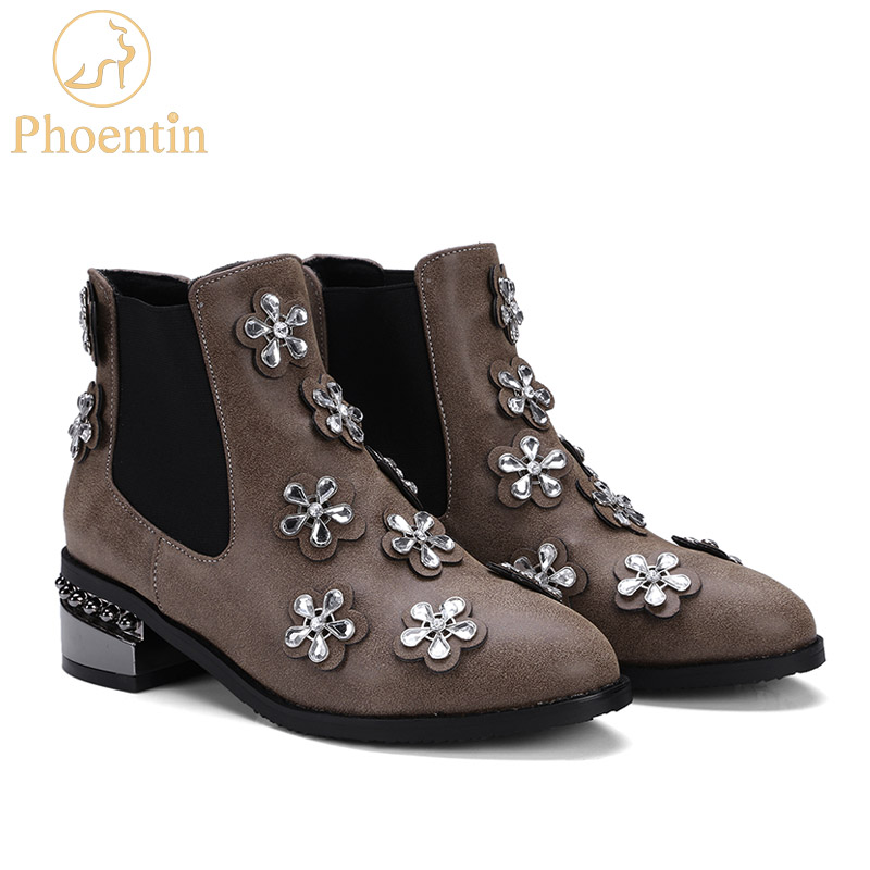 brown Fleur 48 Cuir Cristal Plus Chelsea Phoentin Appliques Taille Noir Chaussures La En Ft220 Pu Bottes Femmes Punk Strass Cheville c45ARS3qjL