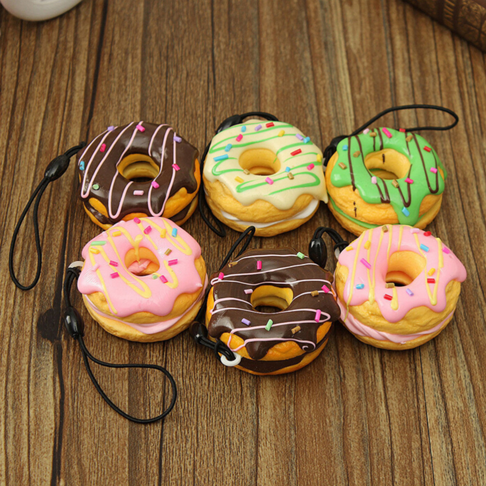 Key Colorful Soft Kawaii Antistress Squishy Chain Straps Cute Donuts Charms Cell Phone Straps Anti-stress Slow Rising Toys