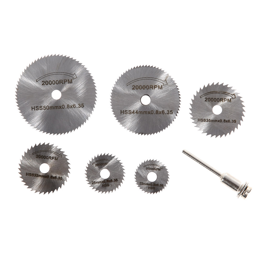 7Pcs 22mm-50mm Cutoff Circular Saw Blade HSS Rotary Blade Tool Cutting Discs Mandrel For Dremel Woodworking Metal Cutter