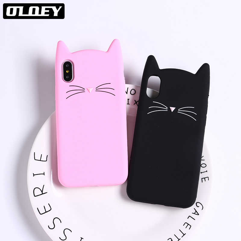 OLOEY Cute 3D Silicone Cartoon Cat Pink Black Glitter Soft Phone Case Coque Fundas For iPhone 7 7Plus 6 6S 5 5S 8 8plus X XS Max