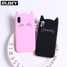 Oloey Lucu 3D Silikon Kartun Kucing Pink Black Diamond Glitter Hearts Lembut Ponsel Case Coque Fundas For iPhone 7 7Plus 6 6S 5 5S 8 8 Plus X XS Max(China)