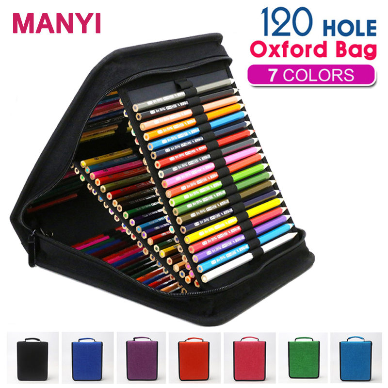 120 Holes Large Capacity Professional Oxford Canvas Bag Pencil Fold Case Pen Storage Pouch Sketch Drawing Tools Art Supplies 72 holes canvas pencil case folded brush holder pouch case with zipper storage pockets bag gifts school stationery art supplies