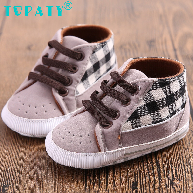 TOPATY Newborn Baby Boys Shoes lace up breathable Sneakers plaid Toddler Shoes zapatos for 0-18M Bebe