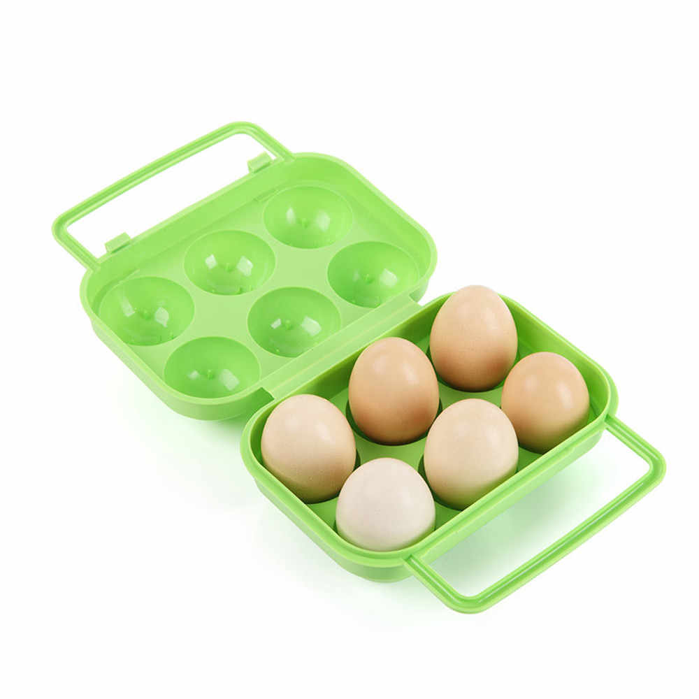 Portable 6 Eggs Plastic Container Holder Folding Egg Storage Box Handle Case Egg boxes holder household tools almacenamiento