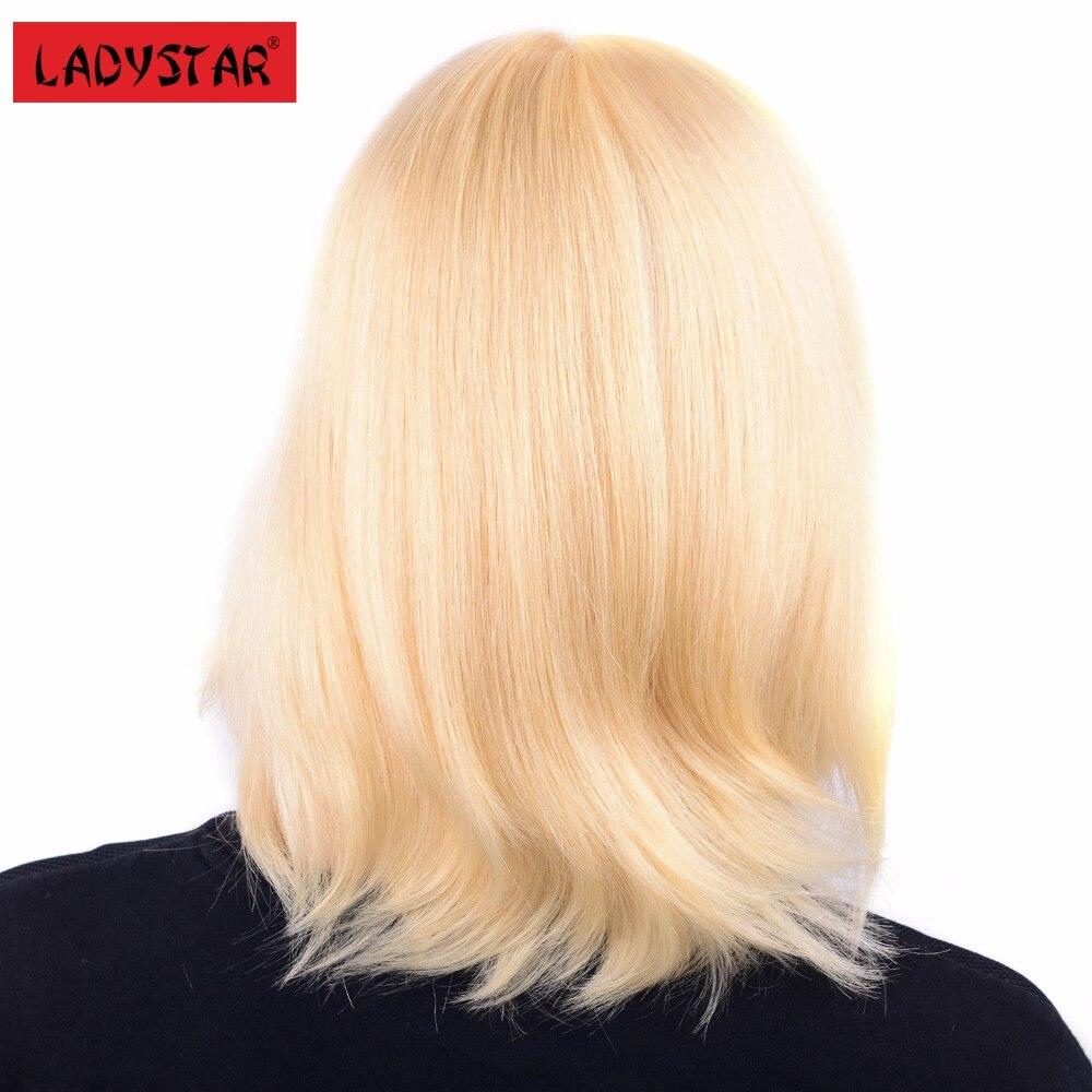 LADYSTAR человеческих волос Прямые парики блондинки Цвет 10 дюймов по Синтетические волосы на кружеве ручной работы