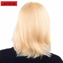 LADYSTAR Remy Human Hair Straight Wigs Blonde Color 10 Inch by Lace Front Hand Made
