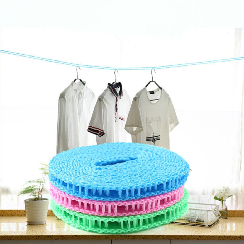 Non-slip Windproof Fence Laundry Clothesline Clothes Drying Rope with Hooks Outdoor Indoor Supplies