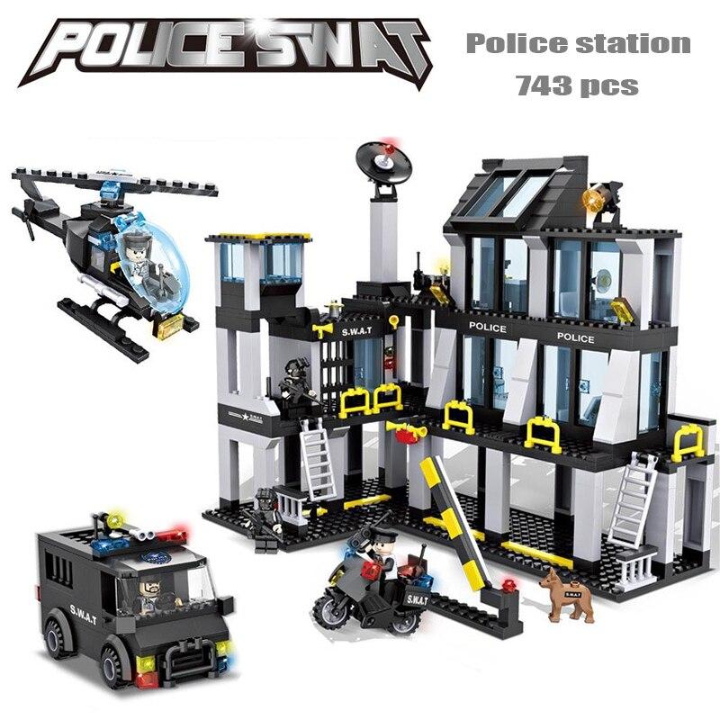 Police station SWAT Hotel Police doll Military Series 3D Model building blocks Construction eductional Bricks Building Block Set