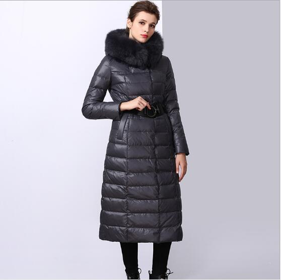 27c5192275f2 Winter Down Coat 2018 New Women Thickening Slim Fit Warm Hooded Parka  Female Outdoor Casual Long Section Fur Collar Down Coat-in Down Coats from  Women's ...