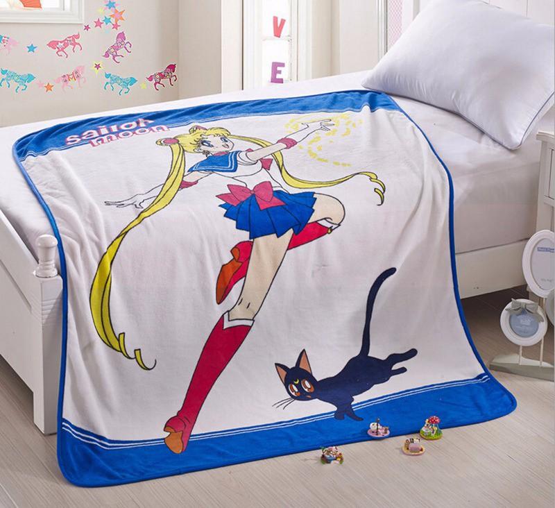 Japanese Anime Sailor Moon & Luna Soft Warm Coral Fleece Plush Throw Blanket8