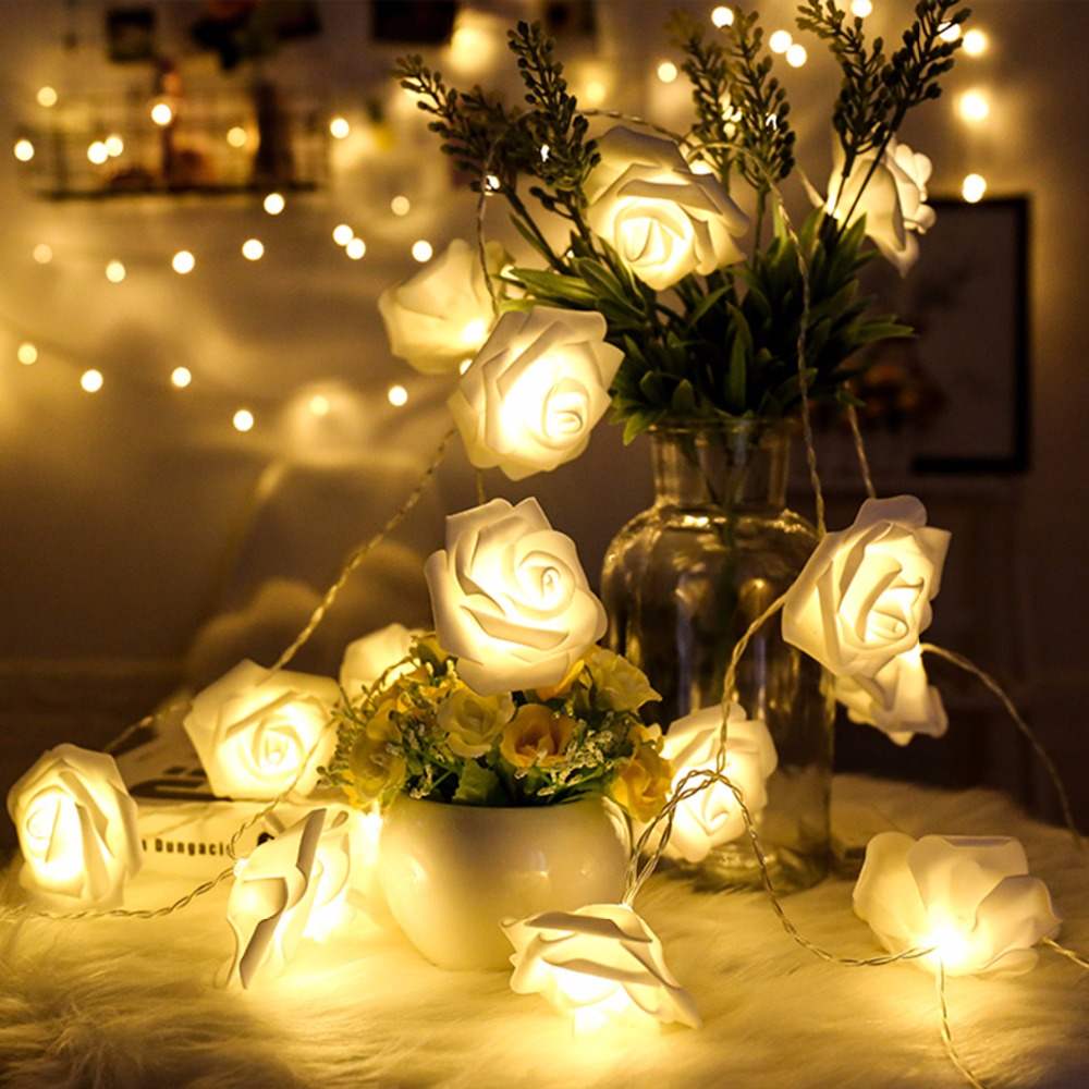 Rose Copper Wire 50led String Light Waterproof Holiday Led Strip Ceiling Wiring Christmas Lights Flower Garland On Batteries Valentines Day Indoor Celebration Wedding Decoration Fairy