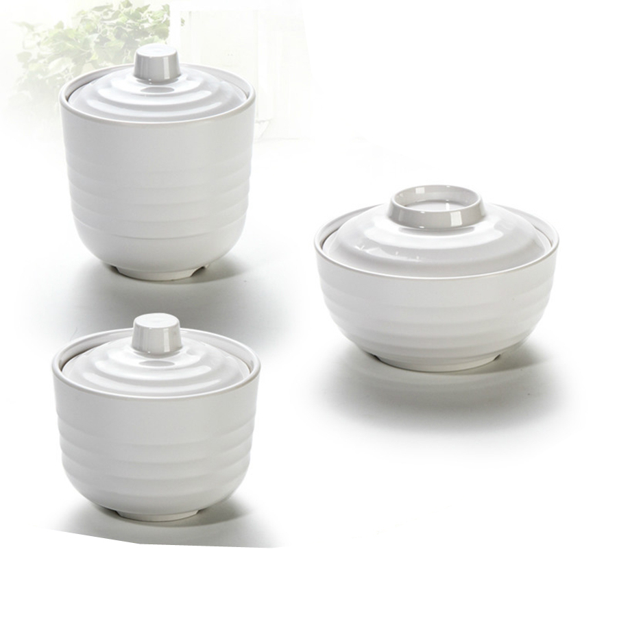 Sugar bowls with lids - Japanese Style Fast Food Restaurant White Plastic Melamine Soup Tureen Stewing Pot Chafing Dish Small Miso Soup Bowl With Lid